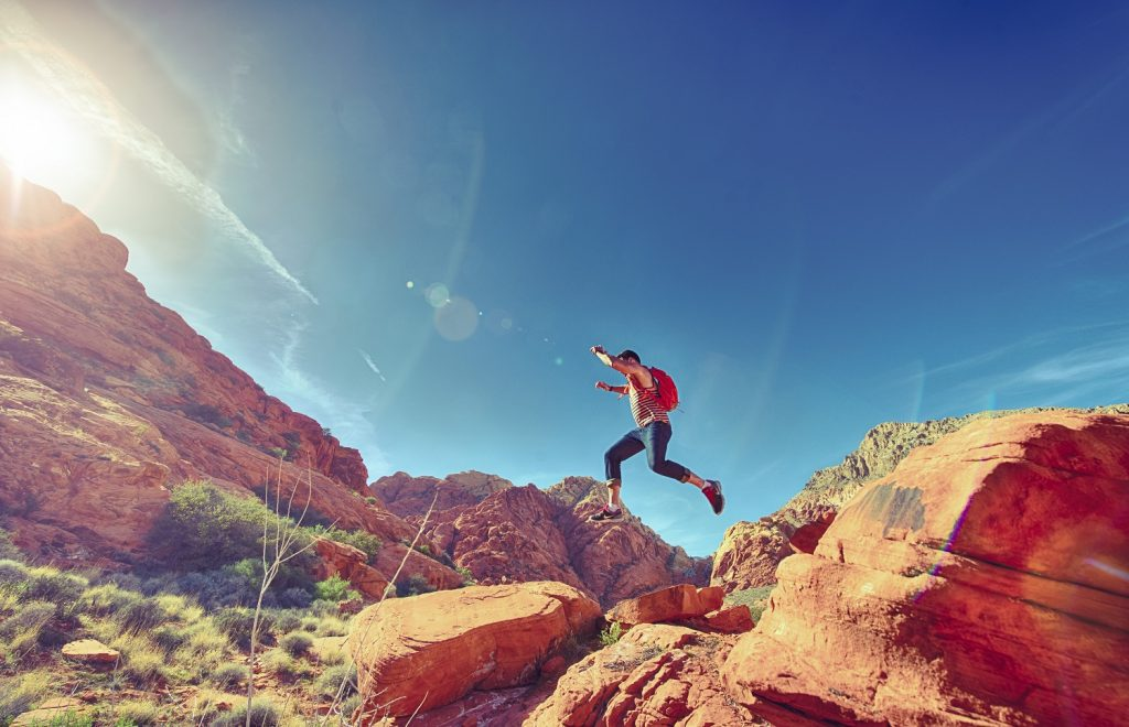 Man Jumping in the Desert