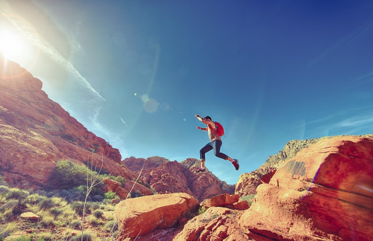 Man Jumping in the Desert