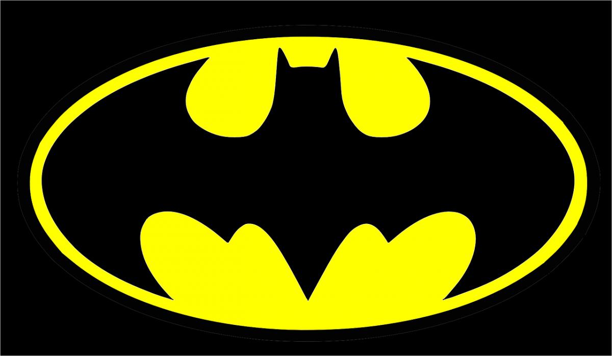 Black and yellow batman symbol.