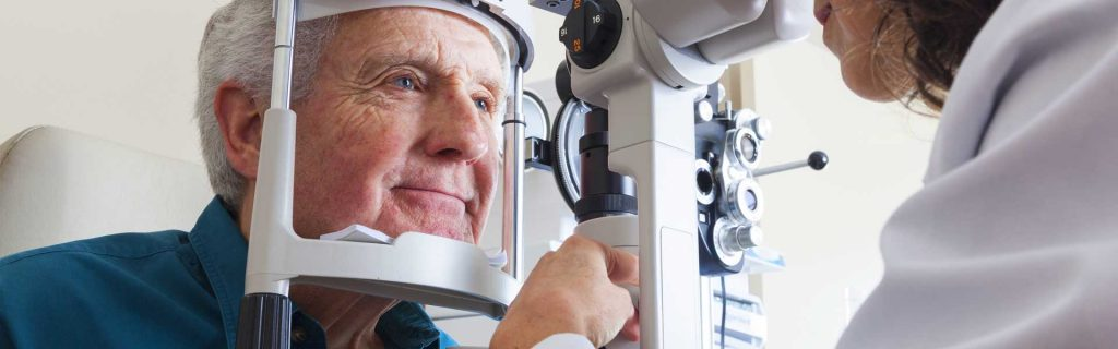 elderly eye care exam